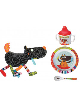 PACK Doudou Louloup + Assiette + Cuillère + Mug Louloup