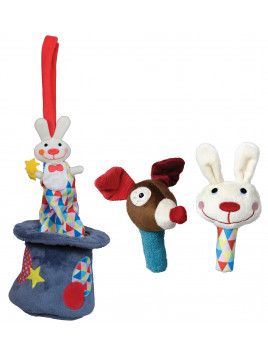 Lot Peluche Lapin Musical  PLUS un set de maracas Lapin et Clown Chien MAGIC CIRCUS