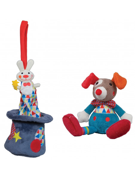 Lot Peluche Lapin Musical  et un doudou GUSTAVE le clown  MAGIC CIRCUS