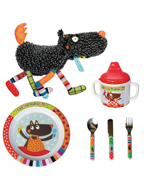 PACK Doudou Louloup + Assiette + couverts + mug Louloup