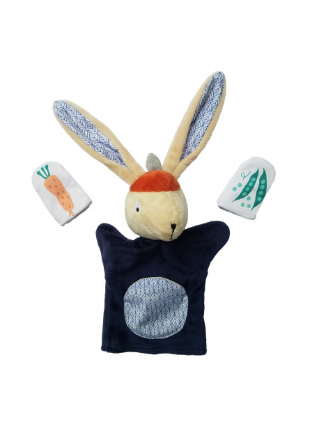 Marionnette Gabin Lapin et ses 2 marionnettes de doigts